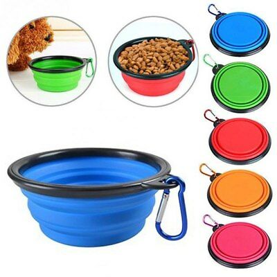 Pet Dog Cat Collapsible Feeding Bowl Travel Portable Silicone Water Dish Camping • 3.79£
