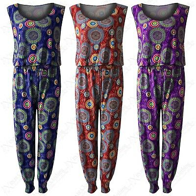 Womens Circles Print Baggy Harem Romper Jumpsuit Ladies Playsuit Festival Look • 6.99£