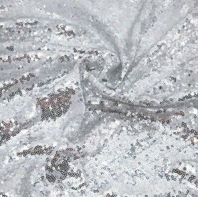£8.50 • Buy Silver 3mm Sequin Fabric Sparkly Shiny Bling Material Cloth 130cm Wide 1 Metre