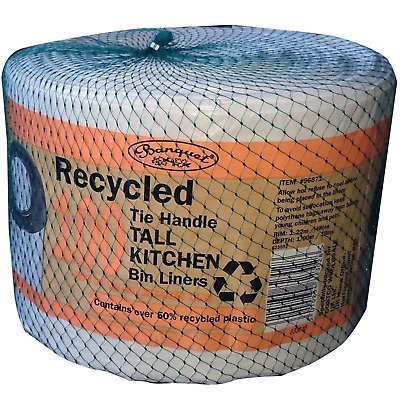 £9.99 • Buy Banquet 100 Recycled Tie Handle Kitchen Bin Liners Fits Up To 50L Kitchen Bins