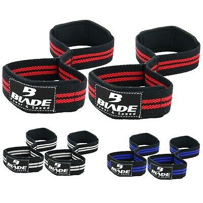 £5.99 • Buy Weight Lifting Wrist Straps Figure Eight 8 Padded Cuff Gym Deadlift Double Loop