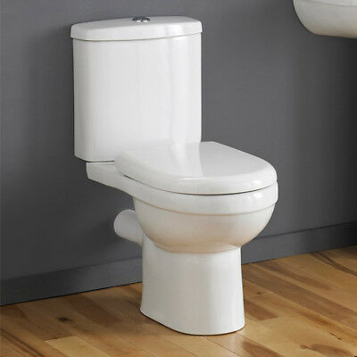 Modern Compact Round Short Projection Toilet WC Close Coupled Soft Close Seat • 169£