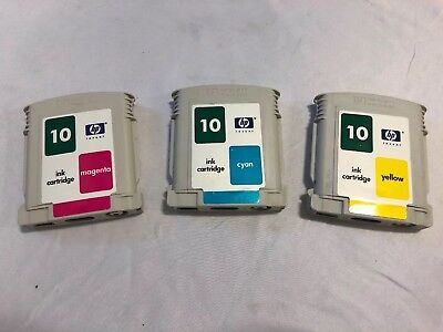 $6.99 • Buy HP 10 Printer Ink Cartridge Color Magenta Cyan Yellow C4843a 2000c 2500c Bundle