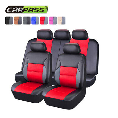 $59.39 • Buy Universal Car Seat Covers Leather Airbag Accessories Red For Girls Women 60/40