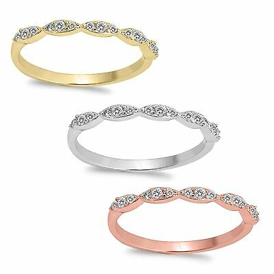 £20.30 • Buy Marquise Setting CZ Eternity 14k Gold Plated Sterling Silver Rose Gold Ring