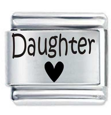 DAUGHTER HEART * DAISY CHARM Etched Compatible With Italian Charm Bracelets • 3.65£