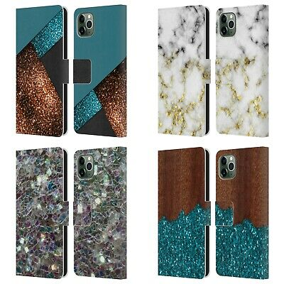 OFFICIAL PLDESIGN GLITTER TEXTURE LEATHER BOOK CASE FOR APPLE IPHONE PHONES • 12.95£
