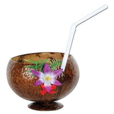 Coconut Cup 10 Oz W/Flower And Straw Luau Party Supplies And Decorations • 3.07£