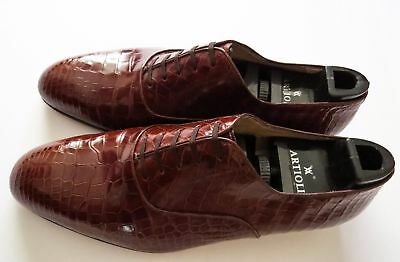 $ CDN3303.13 • Buy $5800 ARTIOLI Cognac Brown Crocodile Alligator Leather Shoes 11 US 44 Euro 10 UK