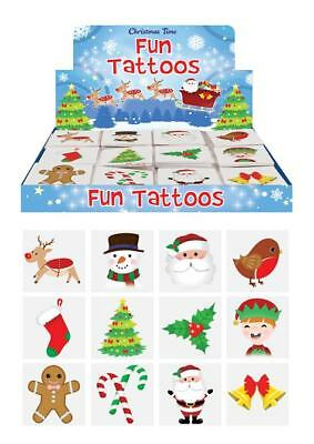 12 - 144 Christmas Xmas Kids Pretend Transfers Tattoos Stocking Fillers Santa • 1.49£