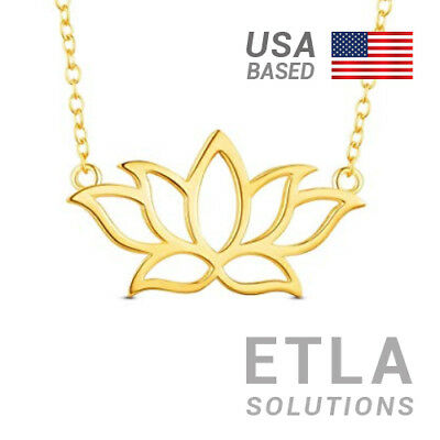 $ CDN34.50 • Buy 14k Gold Filled - Lotus Flower Pendant W/ 16  Necklace - Yoga Or New Age Gift