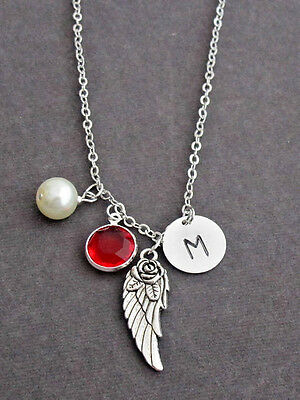 Silver Pewter Angel Wing Charm Memorial Necklace,Rememberance Necklace Jewelry • 9.08£
