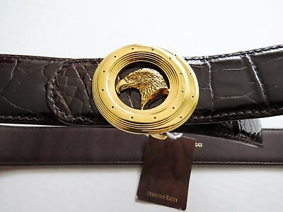 $2800 • Buy STEFANO RICCI Brown Crocodile Leather With Eagle Gold Buckle Belt 34 US 85 CM