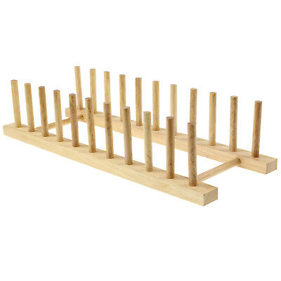 £6.95 • Buy Beech Wood Wooden Long 10 Plates Plate Rack Stand Holder Drainer Kitchen