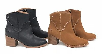 9d51f849e970 Ugg Australia Annie Bootie Chestnut Or Black Heeled Ankle Boot 1095061 Side  Zip • 54.99