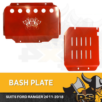 AU179 • Buy Bash Plate 4mm 2pc Powder Coated Red Suit Ford Ranger 2011-2020 Sump Guard