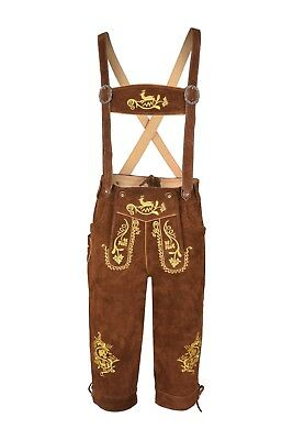 £32.99 • Buy Men,s Long  LEDERHOSEN Real Suede Leather With Matching Suspenders
