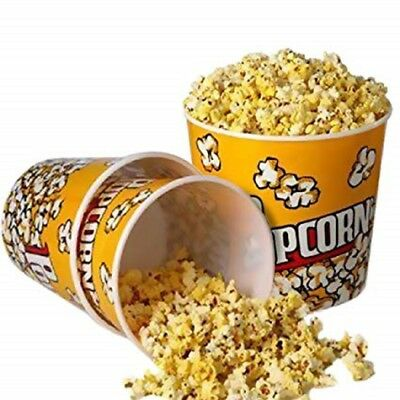 Popcorn Holders Reusable Plastic Tubs Movie Cinema Film Bucket Job Lot Party NEW • 3.99£