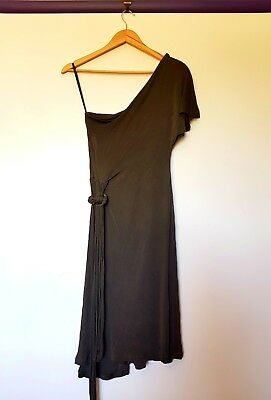 AU70.99 • Buy Scanlan Theodore Womens Size 12 Olive Green One Sholder Midi Belted Dress