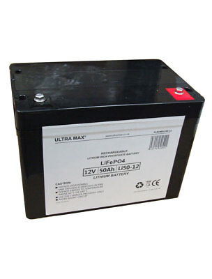ULTRAMAX LI50-12, 12V 50Ah LiFePO4 LITHIUM IRON PHOSPHATE BATTERY WITH CHARGER • 740.91£