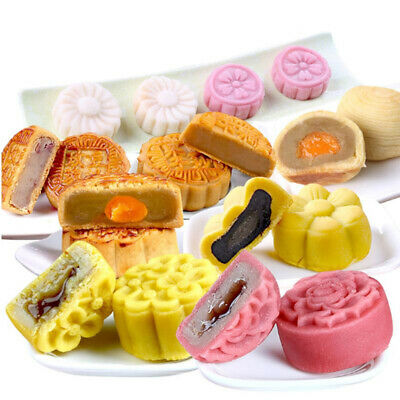 75g Mooncake Moon Cake Plunger Pastry Mold Cookie Cutter + 5 Flower Stamps   • 4.57£