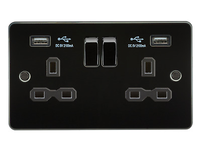 Knightsbridge Flat Plate Switches And Sockets Gun Metal - In Stock!!! • 10.50£