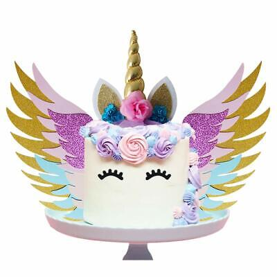 AU11.49 • Buy Unicorn Glitter Cake Wings Horn Ears Gold Topper Birthday Party Cupcake
