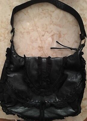 9b5aaba9ad0a Unusual Black Leather  And Eyelet Lace Vintage Purse • 7.99