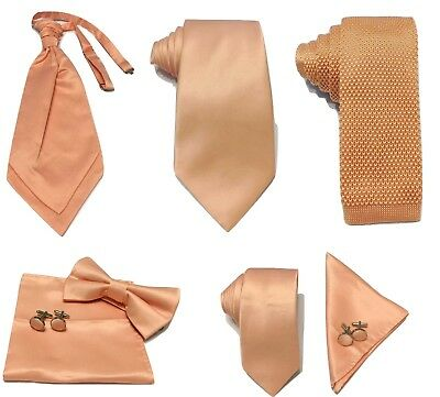 £5.99 • Buy Peach Pink Collection Woven Paisley Jacquard Knitted Satin Tie Wedding Lot