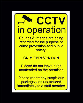 £0.99 • Buy CCTV In Operation Crime Prevention Sign All Sizes & Materials Suspicious Package