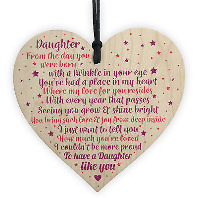 £3.99 • Buy Daughter Gifts From Mum Dad Wood Heart Plaque Birthday Christmas Thank You Gift