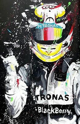 Lewis Hamilton - F1 Car Racing Painting Large Poster / Canvas Picture Prints • 21.99£
