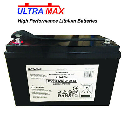 2 X ULTRAMAX 12V 100Ah LIPO LiFePO4 LITHIUM MOBILITY SCOOTER WHEELCHAIR BATTERY • 1,876£