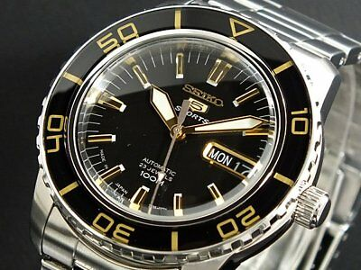 $ CDN248.78 • Buy SEIKO 5 SNZH57J1 Automatic 100m Diver New In Box Made In Japan Black Gold #