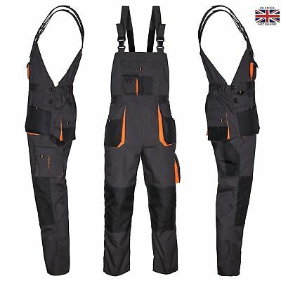 £17.99 • Buy Bib And Brace Overalls Heavy Duty Work Trousers Dungarees Knee Pad Pockets UK