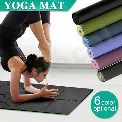 AU28.99 • Buy 8MM TPE Yoga Mat Exercise Fitness Gym Pilates Eco Friendly Non Slip Dual Layer