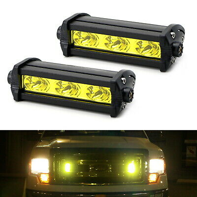 $23.74 • Buy Yellow 3-CREE LED Daytime Running Lights For Behind Grille, Lower Bumper Insert