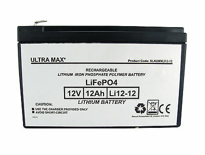 3 X ULTRAMAX 12V 12AH (14AH 15AH Same Dimensions) LITHIUM LIPO Battery POWABYKE • 251.55£