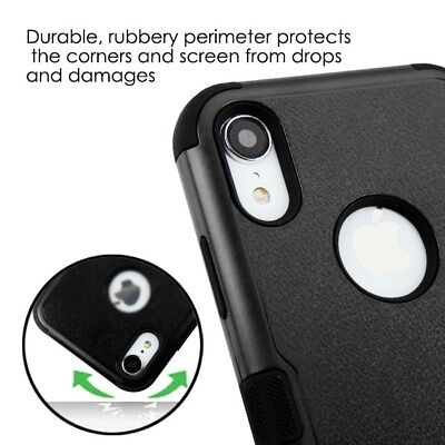 For IPhone XR (6.1 ) - HARD & SOFT Rubber Hybrid Impact Armor Case Cover Black • 6.69£