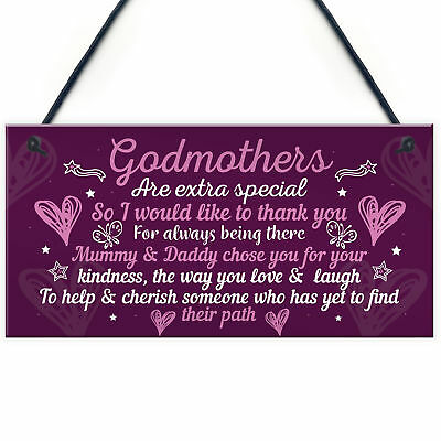 £3.99 • Buy Godmother Gifts For Christmas Godparent Christening Friend Gifts Keepsake Plaque