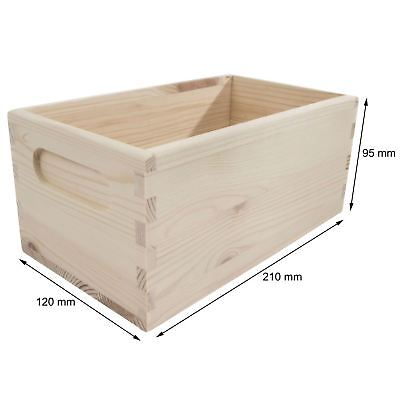 Wooden Crate Chest 21x12x9cm Plain Storage Box To Decorate Craft Decoupage • 8.95£