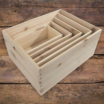 Pine Crate Chest Wooden Storage Box / 5 Sizes / Open Top / For Craft Decoupage • 12.95£