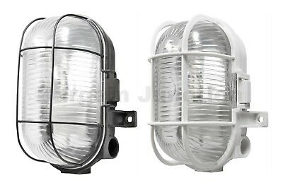 Oval Outdoor Security Bulkhead Light Vandal Resistant Caged Wall Lantern IP44  • 9.40£