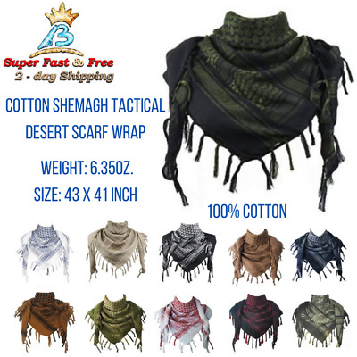 $17.08 • Buy Unisex Military Arab Tactical Desert Neck Scarf Head Wrap Grand Cotton Shemagh