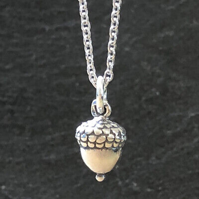 3D Petite Acorn Charm Necklace-925 Sterling Silver-C67 • 20$