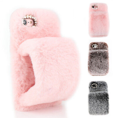 Cute Faux Fur Fluffy Furry Glove Bling Diamond Warm Soft Case Cover For IPhone • 2.75£