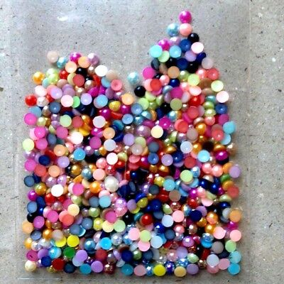4mm X 400 HALF ROUND MIXED COLOURS  FLATBACKS PEARLS FOR CRAFTS SCRAP BOOKING   • 1.25£