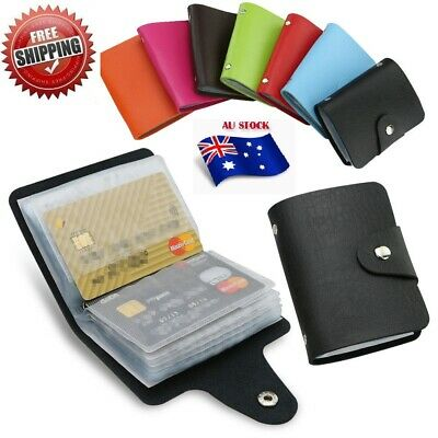 AU4.25 • Buy Men's Slim ID Credit Card Holder Pocket Case Purse Wallet For Cards PU Leather