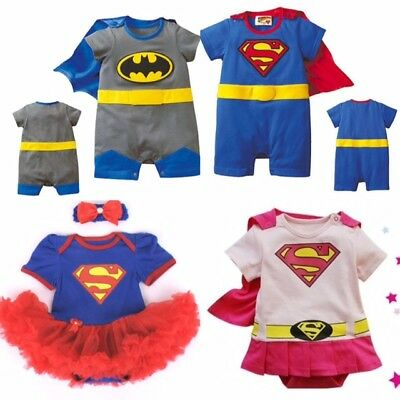 Boys Girls Baby Super Hero Romper Suit Funky Party Outfit Fancy Dress Costume • 11.95£
