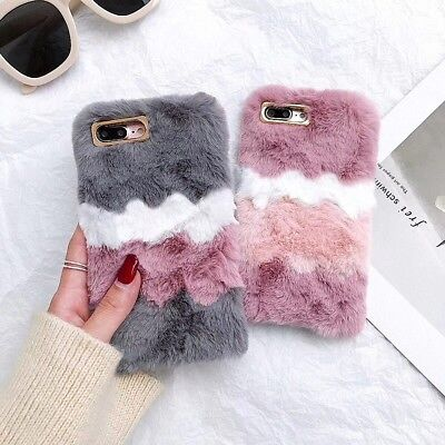 For IPhone XS Max 8 7 6 XR Warm Soft Plush Faux Fur Fluffy Girls Cute Case Cover • 5.79£